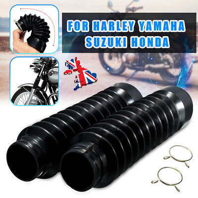 Pair of 27mm Universal Motorcycle Rubber Front Fork Cover Gaiters Gators Boots