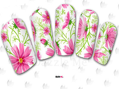 Nail Art Sticker Water Decals Transfer Flowers Pink Floral (DC174)