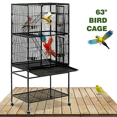 "69"" Large Bird Pet Cage Wooden Bridge Ladder Parrot Cockatiel Conure Chinchilla"