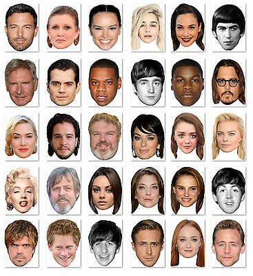 Budget Range #5 - Ready To Wear Celebrity Face Masks - 30 To Choose - Low Price!