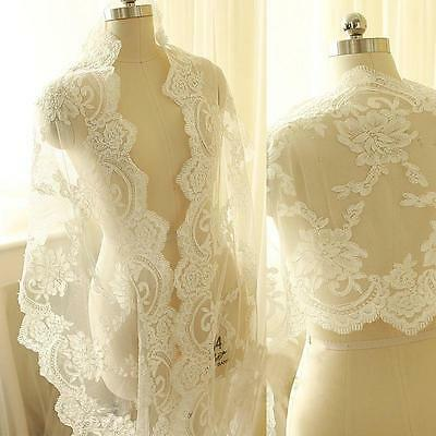 """Embroidery Lace Edging Bridal Lace Trimming 15.2"""" Corded Wedding Trim 1 Yard"""