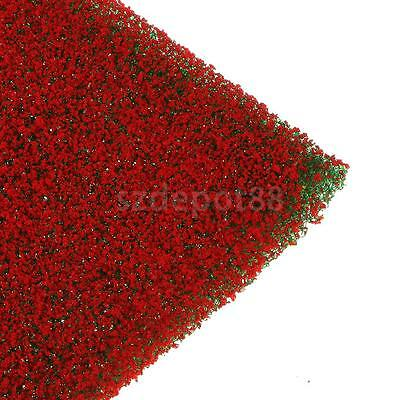 2 Red Flowers Grass Mat Model Train Railway Diorama Landscape Scenery Layout