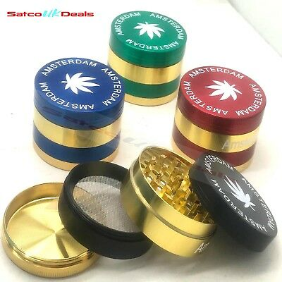 4 Part 50mm Amsterdam Aluminium Herb Tobacco Grinder Muller Crusher Gold NEW Uk