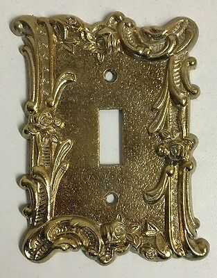 Vintage Gold Brass Light Switch Cover Plate Single Toggle Ornate Floral Rose