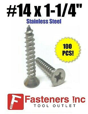 "(Qty 100) #14 x 1-1/4"" Sheet Metal Screws Stainless Steel Phillips Flat Head"