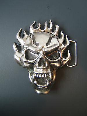 Flaming Skull Belt Buckle with Hidden Compartment in the back Flames