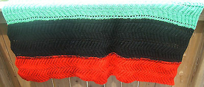 """Vintage Handmade Afghan Couch Throw 54/46"""" x 42"""" Colored Stripes Red Black Green"""
