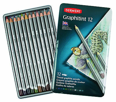 Derwent Graphitint 12 Tin Set of Tinted Graphite Water Soluble Colour Pencils