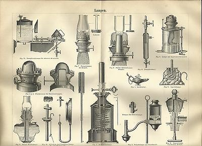 1888 LAMPEN Original Alter Druck Antique Print Lithographie