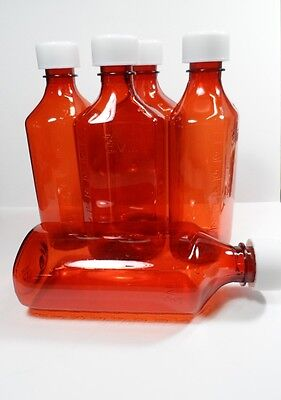 6 LOT Amber Medicine Plastic Storage Bottles/Caps Large 8 OZ Size-BRAND NEW