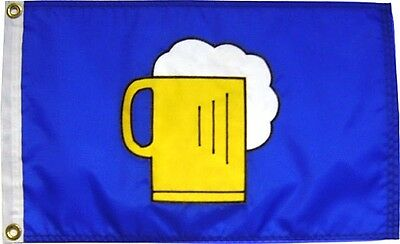 "12""x18"" Beer Mug Flag on Blue Hand Sewn in the USA Best Quality"