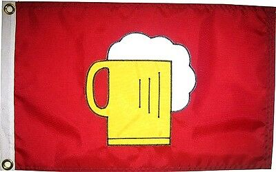 "12""x18"" Beer Mug Flag on Red Hand Sewn in the USA Best Quality"