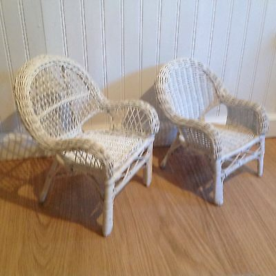 2 American Girl Size White Wicker Chairs