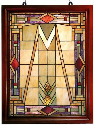 Mission Stain Glass Window Panel Handcrafted Amber Blue Green Hanging Home Decor