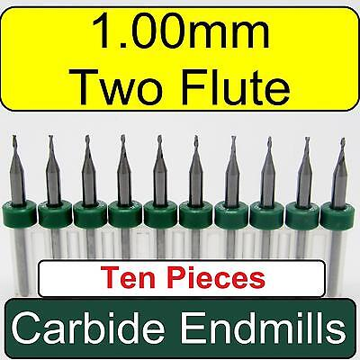 "1.00mm .040"" Two Flute Solid Carbide Endmills - Ten Pieces - cnc fr4 mdf wood"
