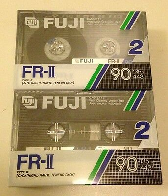 One 2-pack of Fuji FR-II 90 Type II High Audio Cassette Tapes New Sealed Vintage