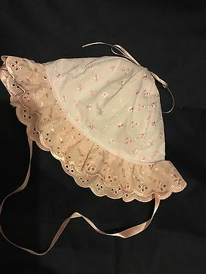Baby Girls Sun Hat Pink & White 6-12 Mths Cotton Broderie Anglaise Bonnet Lined