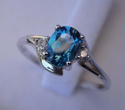 Gorgeous Natural London Blue Topaz & CZ Solid 925 Sterling Silver Ring 7-9