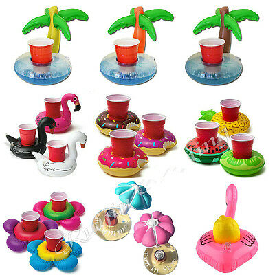 1-10X Inflatable Flamingo Swan Fruit Donuts Palm Tree Yellow Duck Drinks Holders