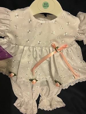 Baby Girls White & Pink Ribbons Bow Lace Party Dress Hat Knickers 0-3 Months