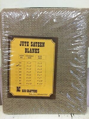 RC RUG CRAFTERS 2' X 3' JUTE SATEEN BLANKS 60's-70's Mid-Century Vintage NEW