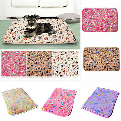 Warm Pet Mat Small Large Paw Print Cat Dog Puppy Fleece Soft Blanket Bed Pad NEW