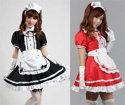 Anime Damen Girls Kleid Lolita Maid Dress Cosplay Kostüm Party Uniform Karneval