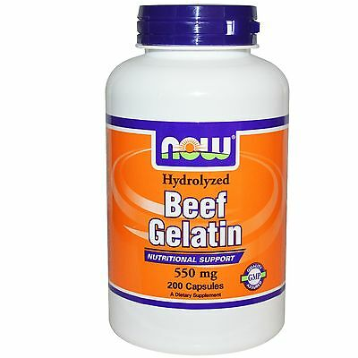 Beef Gelatin Hydrolyzed - Now Foods High Collagen Natural Protein  200 Capsules
