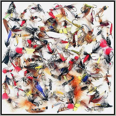 Trout Fishing Flies Wet Dry Nymphs Buzzer Barbed Barbless hooks 10 12 14