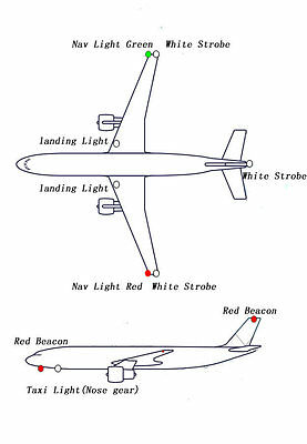 RC TRUE REALISM Large Scale Navigation 12 LED Lights For RC Plane Helicopter