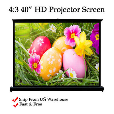 "4:3 HD 40"" Projector Desktop Screen Retractable for Meeting Home Theater USA"