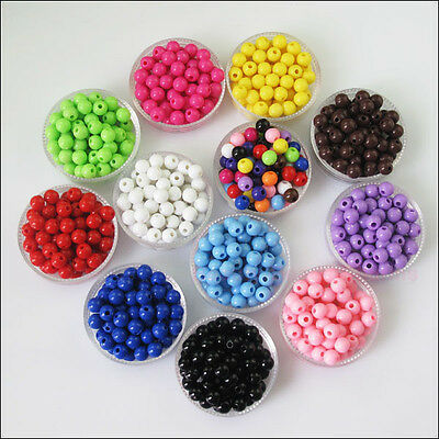 6mm 8mm Acrylic Plastic DIY Round Ball Smooth Spacer Beads Charms Mixed