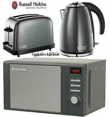 Russell Hobbs Colours Kettle and 2 Slice Toaster & Heritage Grey Microwave New