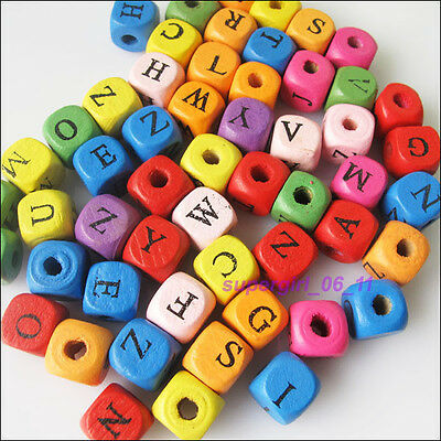 50Pcs Mixed Wood Square Letters Spacer Loose Beads Charms 10mm