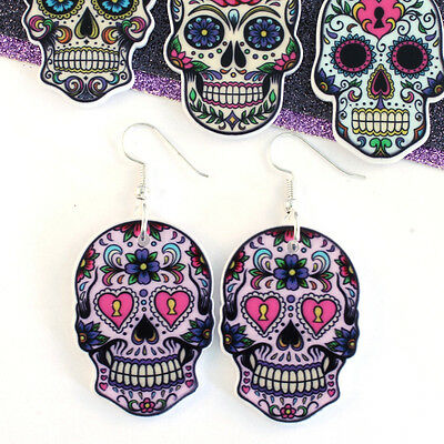 Tfb - Large Sugar Skull Dangle Earrings Evil Zombie Day Of The Dead Quirky Funky