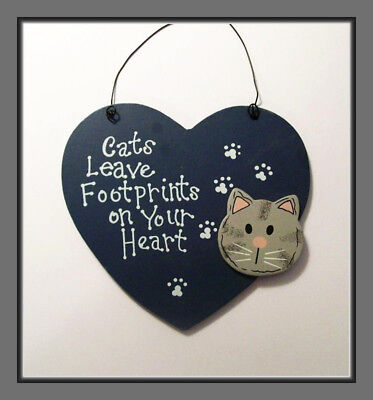 Cats Leave Footprints On Your Heart - Wooden Sign Or Ornament