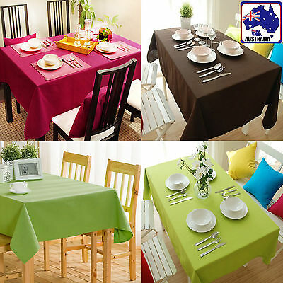 Canvas Tablecloth Rectangle Table Cloth Linen Cover Desk Green Coffee Red HDCLH