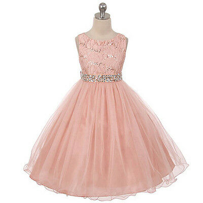 BLUSH Flower Girl Dresses Bridesmaid Birthday Wedding Pageant Graduation Party