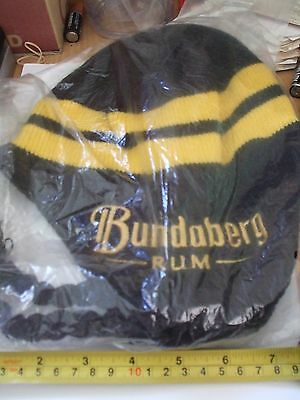 bundaberg rum woolen beanie with ear protect and tie down tags