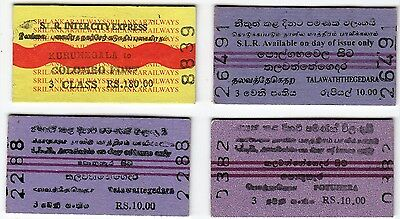 Sri Lanka Used Vintage EDMONDSO Railway Train Tickets