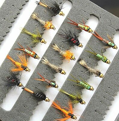 Trout Fishing Flies Gold Headed Nymphs 33J-18 Hooks 10 12 14  Barbed or Barbless