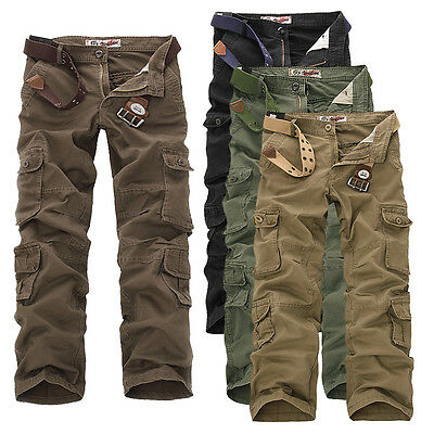 Hot Cargo Camo Combat Military Mens Trousers Camouflage Pants Casual UK30-42