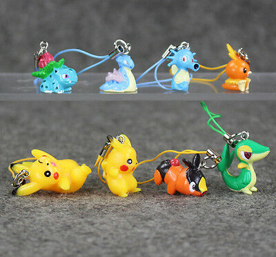 8pcs/lot Pokemon Go Cell Phone Strap PVC Figures Anime Keychain Handbag Charms