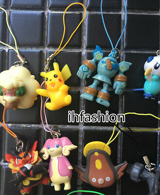 12pcs/lot Pokemon Go Cell Phone Strap PVC Figures Anime Keychain Handbag Charms