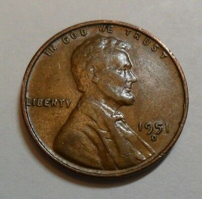 1951 D Lincoln Wheat Cent / Penny Coin   *FINE OR BETTER*  **FREE SHIPPING**