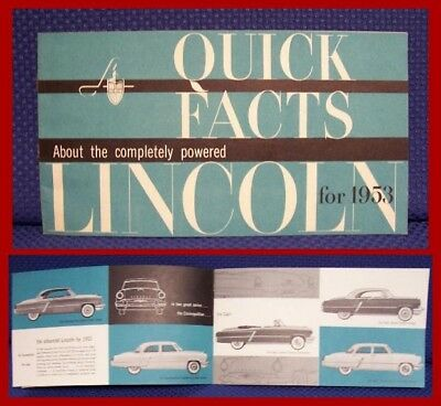 1953 LINCOLN Automobile Quick Facts Sales Brochure