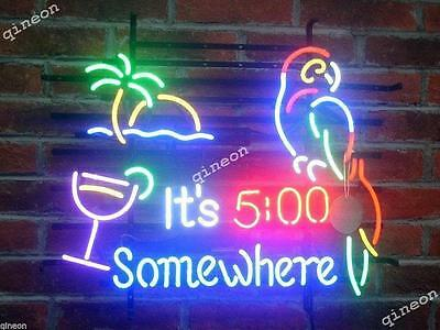 2016 New Style It's 5 Five o'clock Somewhere Parrot Neon Sign Beer Bar Light