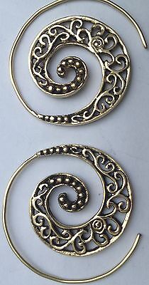 Spiral Brass Filigree Earrings - Ethnic, Boho, Funky, Tribal