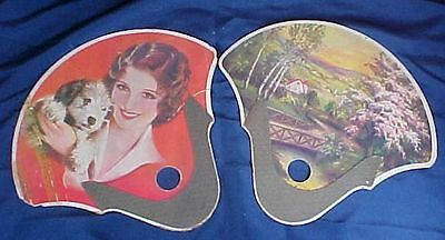 2 Vintage Advertising Paper Fans Lake & Sons Funeral Home Columbus Ohio Lady Dog