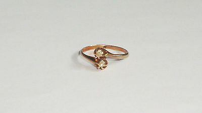 Delicate Victorian 14K Rose Gold High-Set Double Seed Pearl Ladies Ring, Sz 5.25